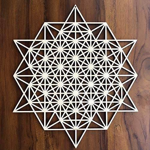 ZenVizion 13.5 64 Star Tetrahedron Wall Art, Sacred Geometry Wall Art, Wooden Wall Art Decor, Yoga Wall Art Hanging, Laser Cut Artwork, Wall Sculpture Symbol, Gift purpose