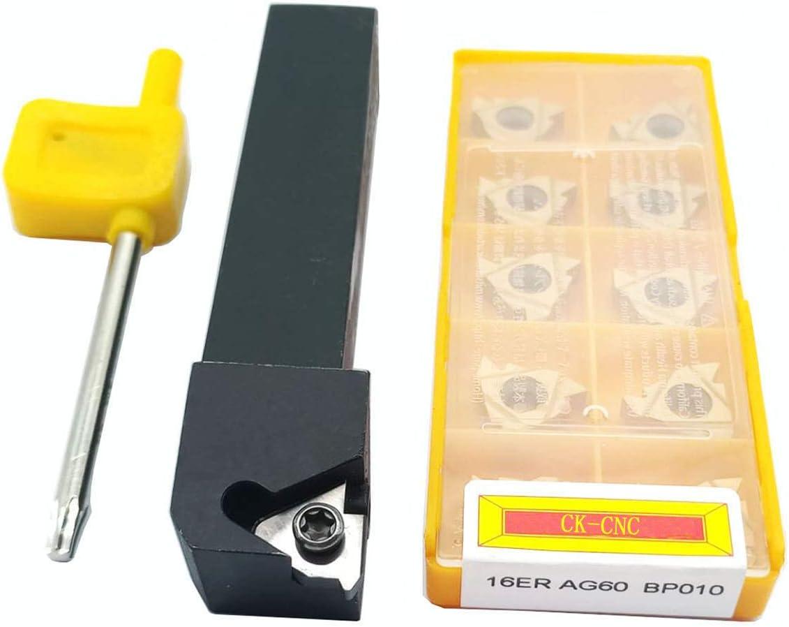 SER1616H16 Outil de tournage CNC en carbure de tungst/ène indexable avec 10 lames 16 ER AG60 BP010