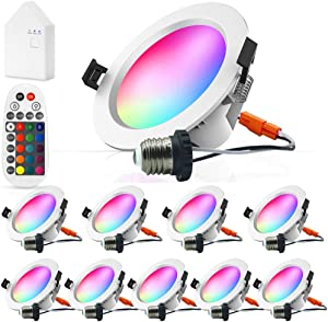 Smart LED Recessed Downlight with Remote Control & Smart Bridge, FVTLED 10pcs Wireless Bluetooth 9W 4 inch 700LM 2700K-6500K Dimmable RGBWC Multicolor Color 5 in 1 Ceiling Spotlight Can Light