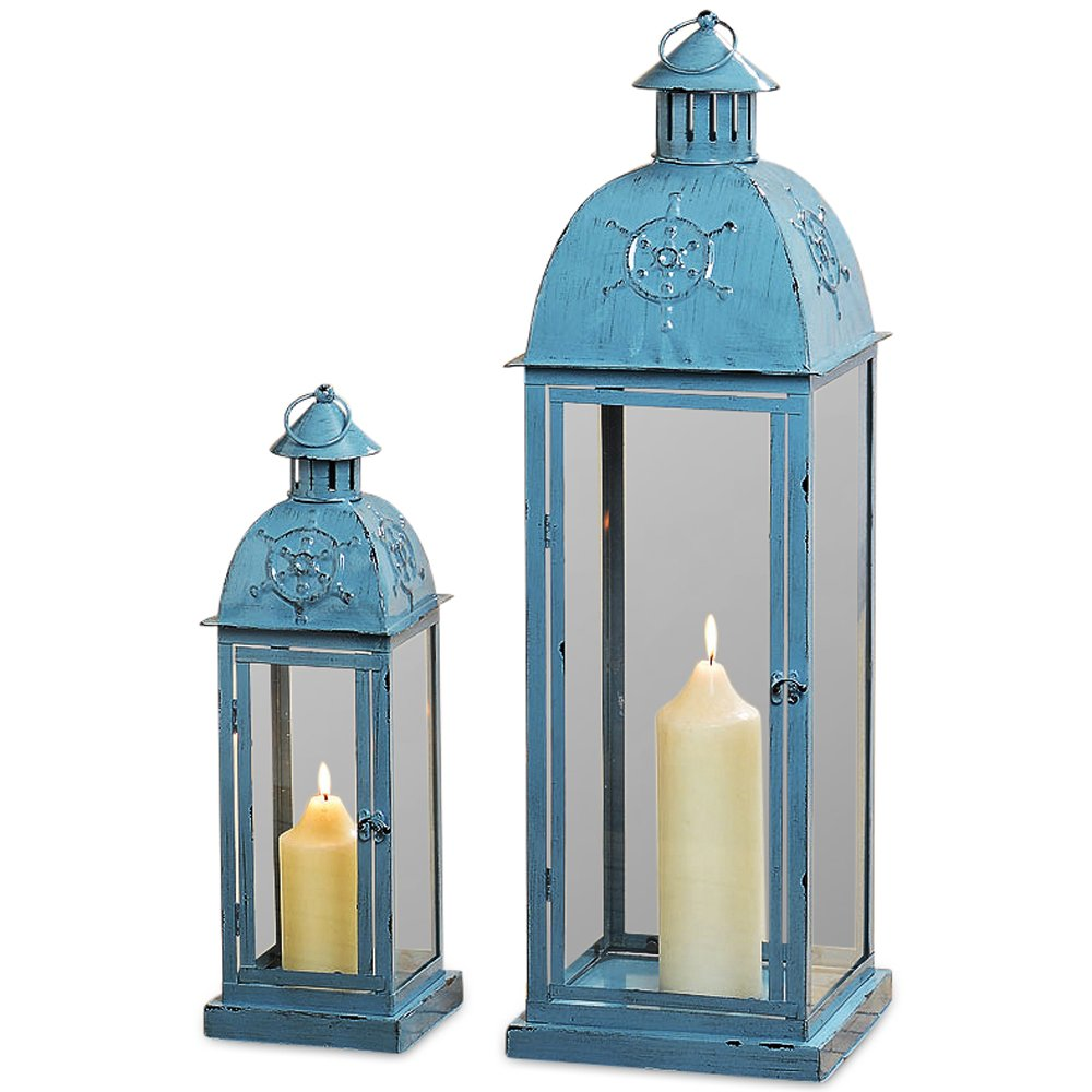 Coastal Christmas Tablescape Décor - Nautical beach chic blue rustic metal & glass hurricane candle lanterns - Set of 2 by Whole House Worlds