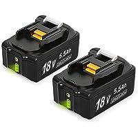 NeBatte 2x BL1860B 18V 5,5 Ah Lithium Ersatzakkus 2 Stück für werkzeug akku Makita BL1860B BL1860 BL1850B BL1850 BL1840B BL1840 BL1830B BL1830 BL1820 LXT-400 mit Indikator
