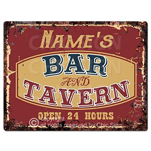 Personalized Tin Signs - Chic Sign NAME'S BAR and TAVERN Custom Personalized Tin Rustic Vintage style Retro Kitchen Bar Pub Coffee Shop Decor 9