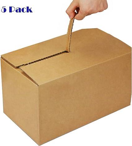 5 unidades de caja de cartón con cremallera, fácil de abrir y embalar, no necesita cinta adhesiva de 3 capas, diseño antirrobo, perfecto como envoltorio de regalo o paquete de correo: Amazon.es: