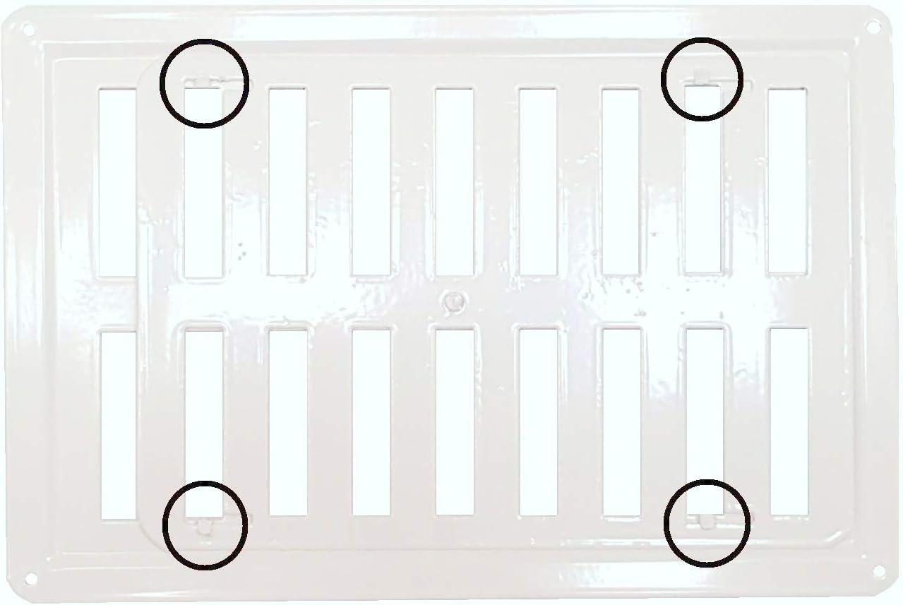 Schlie/ßen L/üftungsgitter. /Öffnen Justiertes Metalll/üftungsgitter in Wei/ß RAL 9016 reguliertes L/üftungsgitter aus verzinktem Stahl in Wei/ß