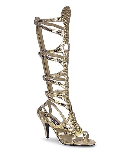 ba4e69f4780 Funtasma Womens Gladiator Sandals Gold Shoes 3 1 2 Inch Heel Snake Skin  Costume Boots