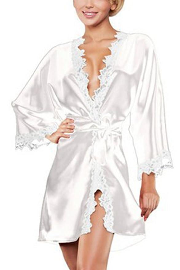 Yacun Mujer Manga Larga Kimono Batas Novia Raso Seda Ropa de Dormir de la: Amazon.es: Ropa y accesorios