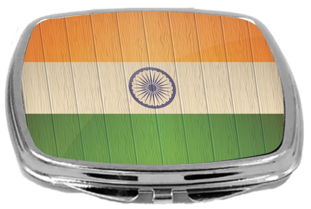 Rikki Knight Compact Mirror on Distressed Wood Design, India Flag, 3 Ounce