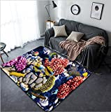 Vanfan Design Home Decorative Coral and fish in the Red Sea Egypt Africa Modern Non-Slip Doormats Carpet for Living Dining Room Bedroom Hallway Office Easy Clean Footcloth