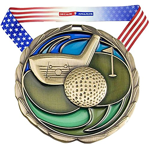 Premium Golf Award - Decade Awards Golf Color Engraved Medal – Gold | Perfect Golf Tournaments | Includes Stars Stripes American Flag Neck Ribbon | 2.5 Inch Wide – Customize Now