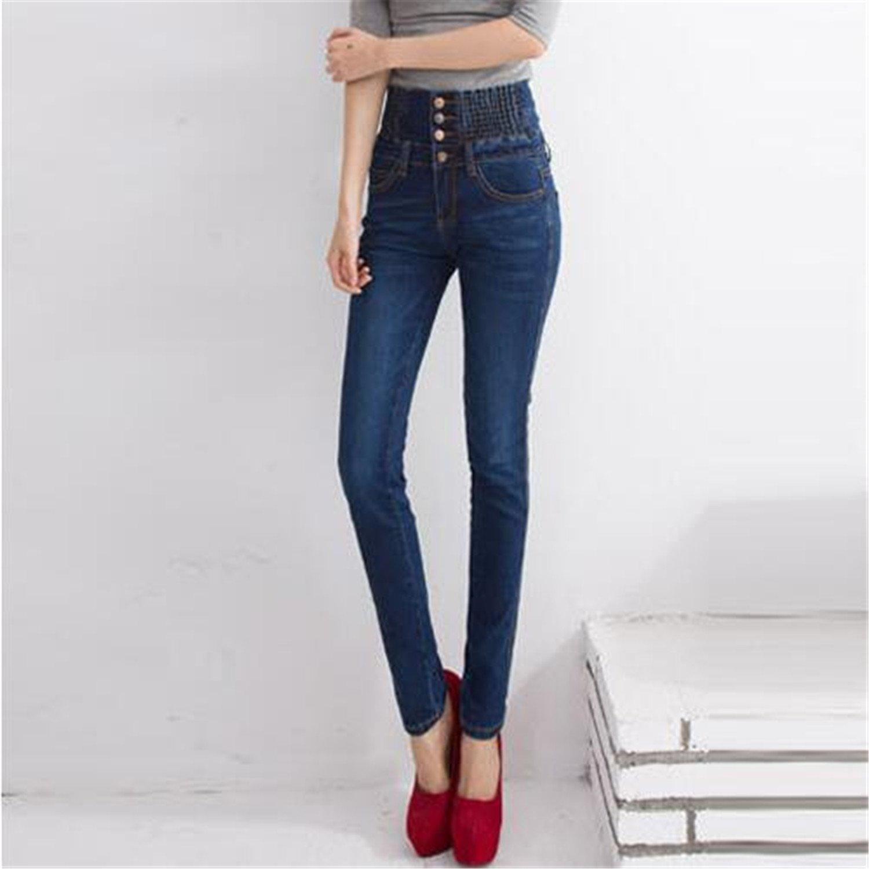 Naomiky Elastic Skinny Denim Long Pencil Pants Plus Size 40 Woman Jeans Camisa Feminina Lady Fat Trousers Dark Blue Jeans 26