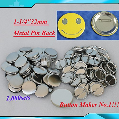 1,000sets 1-1/4''32mm Metal Pin for Button Machine Badge Button Parts BIG Sale!!! by Button Maker