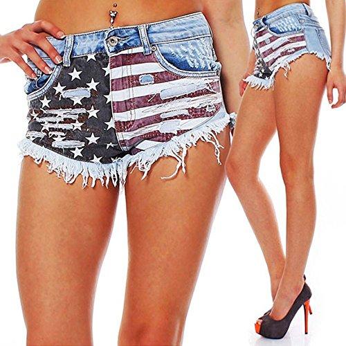 Americana Up Cortos Bandera Push Azul Davani Vaquero XTqfAA