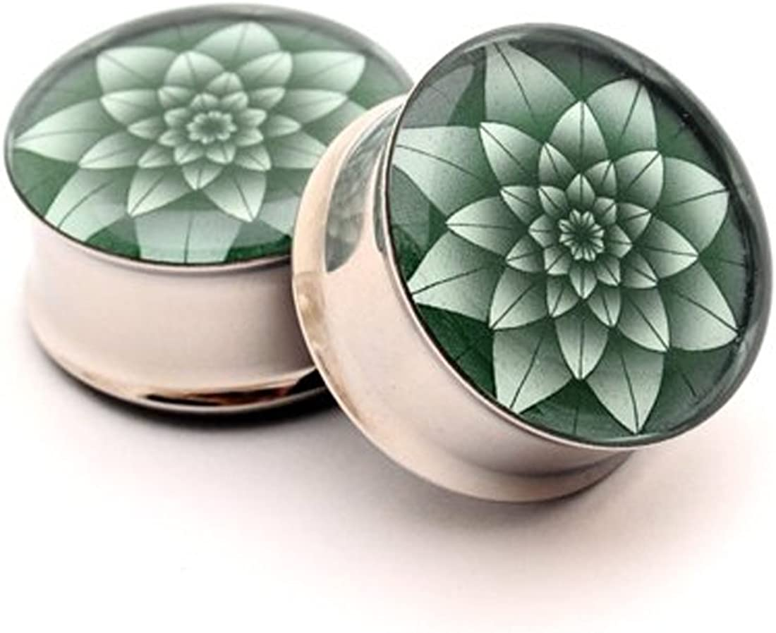 Mystic Metals Body Jewelry Double Flare Gauge Picture Plugs Sold As a Pair
