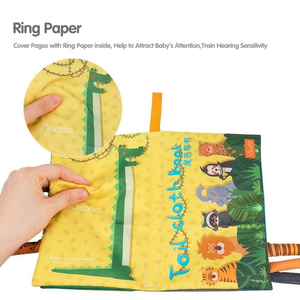 3D Tails Books Fabric Activity for Baby Learning to Sensory Book Baby Animal Tail Soft Book Soft Baby Books Feel Cloth Book Fun1980s Kids Toys