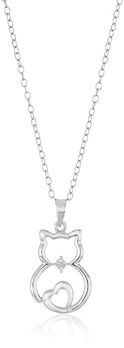 Fine Jewelry Womens Diamond Accent Gold Over Silver Cat Pendant Necklace R23MKmLBF