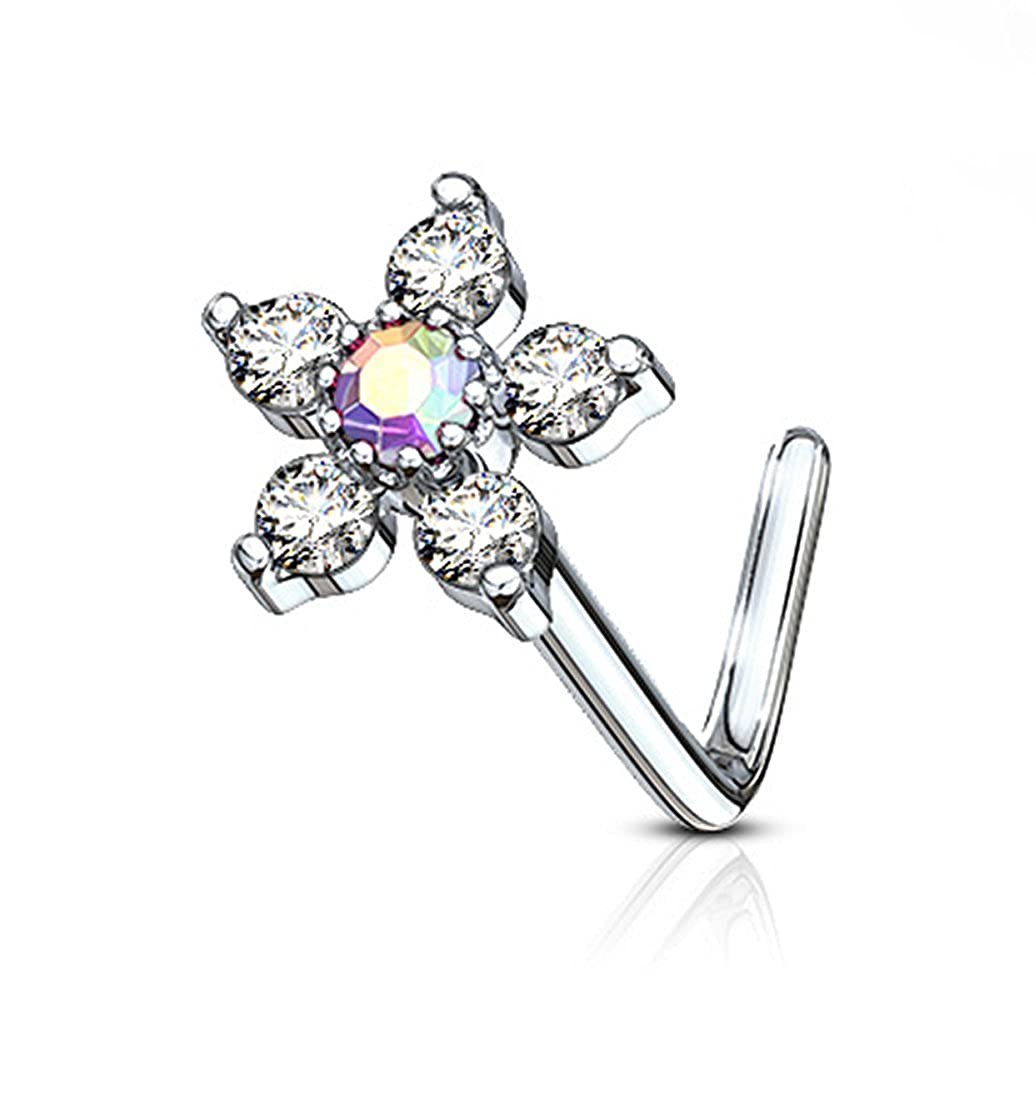Forbidden Body Jewelry 20g Surgical Steel L Shaped Nose Ring with Large Two-Tone 6-CZ Crystal Flower Top Aurora Borealis/Clear 601982268305