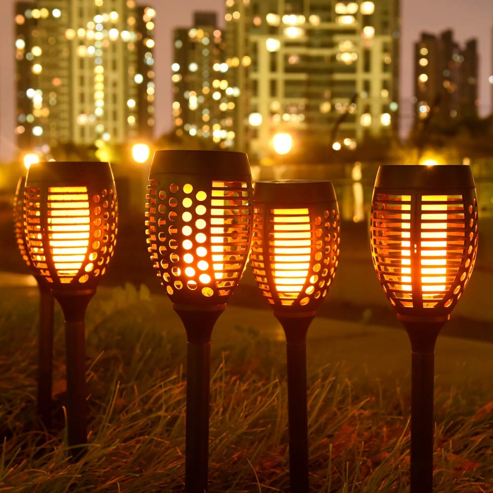 Waterproof Flickering Flames Torches Lights Outdoor Solar Landscape Decoration Lighting Dusk to Dawn Auto On//Off Security Path Light for Patio Driveway Garden Yard 4 Pack Solar Torch Lights
