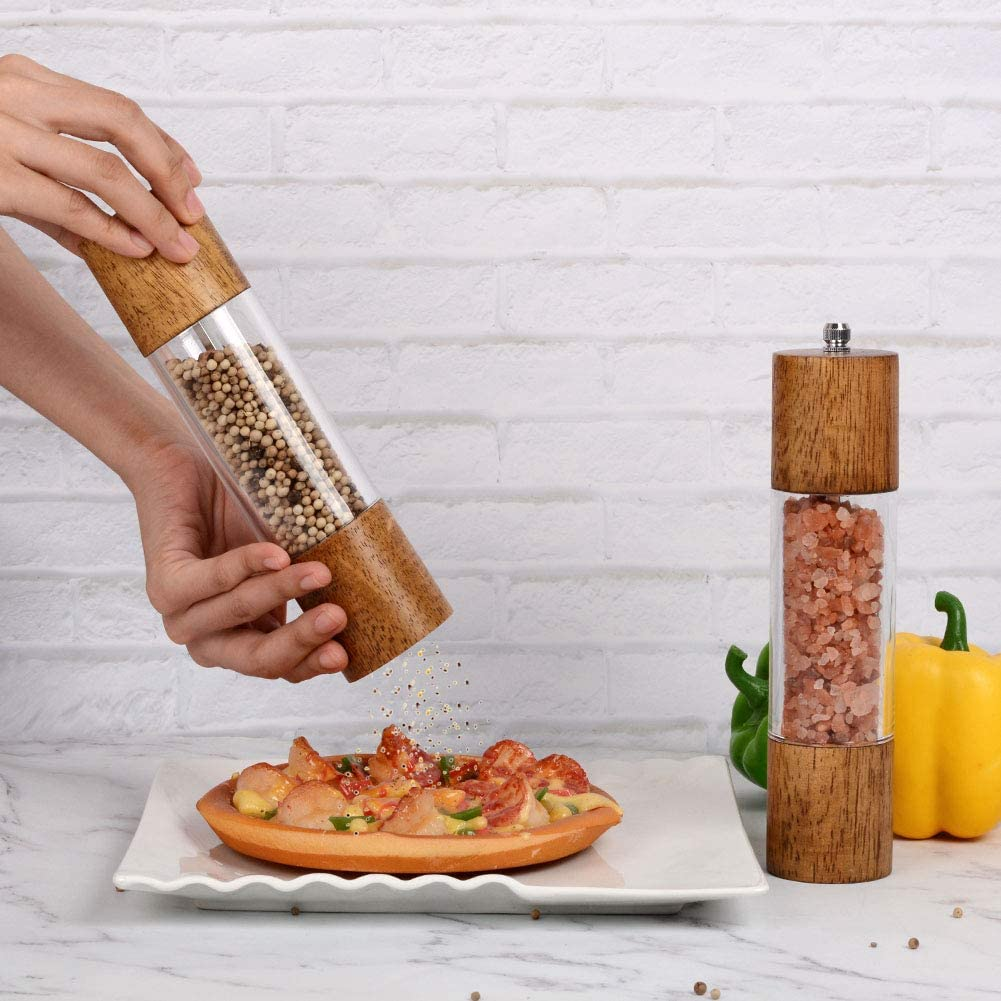 Manual Salt and Pepper Mills 8 Inches-Pack of 2 XQXQ Premium ...
