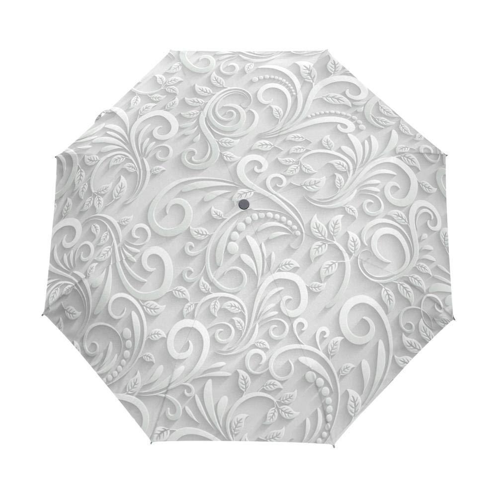 Gano Zen クリア傘 フルオートマチック 3D花柄 Chuva ホワイトサン傘 3折りたたみ傘 雨 レディース 紫外線防止 アウトドア旅行H 02   B07PDMNQF9