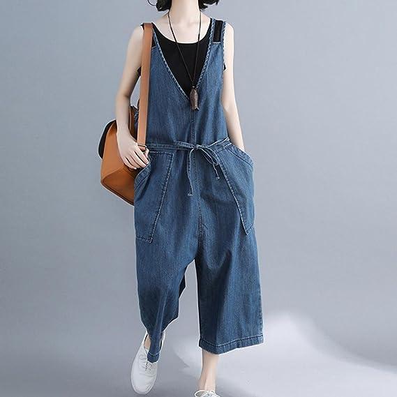 7c87c9bae9b8 Amazon.com  SCSAlgin blouse Women Women Casual Loose Denim Pants Jumpsuit  Strap Harem Trousers Overalls Harem Pant  Clothing