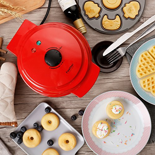 Finether Waffle Maker Machine, Multi-Plate Waffle Iron, Mini 3-in-1 Non-Stick Snack Maker Adjustable Temperature, Easy to Clean, Cord Wrap & Cool Touch Handle, Red by Finether (Image #7)