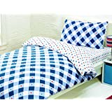 Childrens Blue, Red and White Single Duvet Cover & Fitted Sheet Set by Kidzzz Bedtime