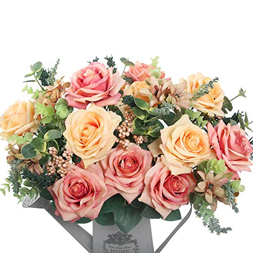 Artificial flowers, European artificial roses, silk rose for decorating, silk flower for wedding, a bunch/pack (Orange) (Where To Buy Artificial Tree)