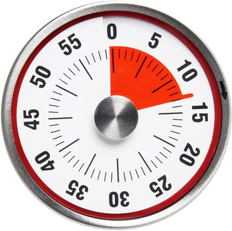 60 Minutes Manuel Minuterie Rouge JUNSHUO Minuteur M/écanique de Cuisine INOX Magn/étique