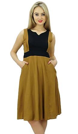 c9b7a8826d8 Bimba Robe chasuble occasionnels rayonne de femmes robes d été sans manches  avec poches