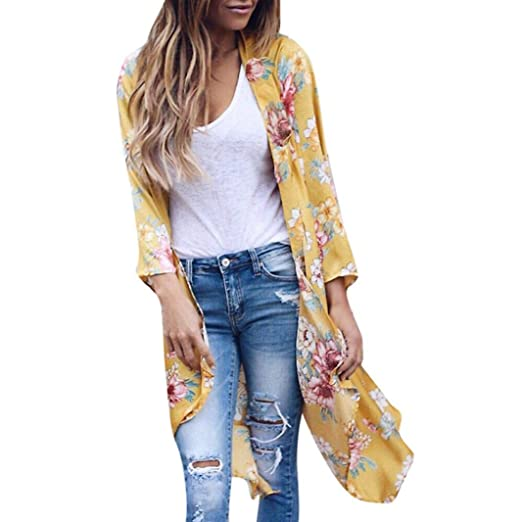 743ef791acc4 Realdo Womens Smock Clearance Sale,Print Kimono Long Top Cover up Blouse  Cardigan(XXX