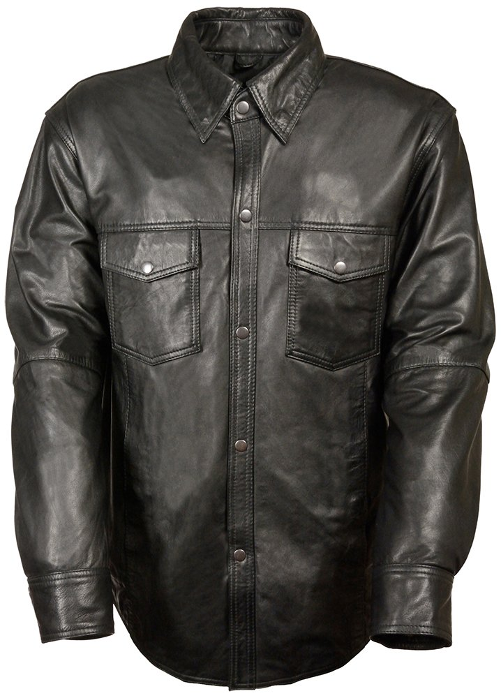Milwaukee Leather Men's Lambskin Leather Shirt with Snap Down Collar (Black, Large)