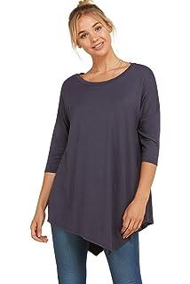 0f0b07d8c Annabelle Women's Comfy Oversized 3/4 Sleeve Uneven Hemline Casual Shirt  Tops