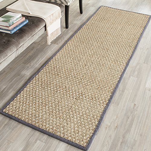 "Safavieh Natural Fiber Collection NF114Q Basketweave Natural and  Dark Grey Seagrass Runner (2'6"" x 10')"