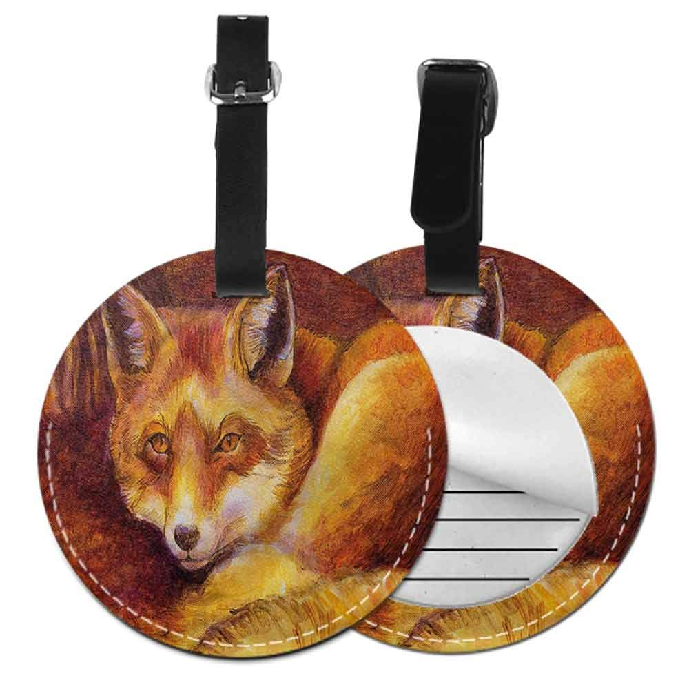Label Bag Fox,Snowy Winter Day in Forest Address Tags