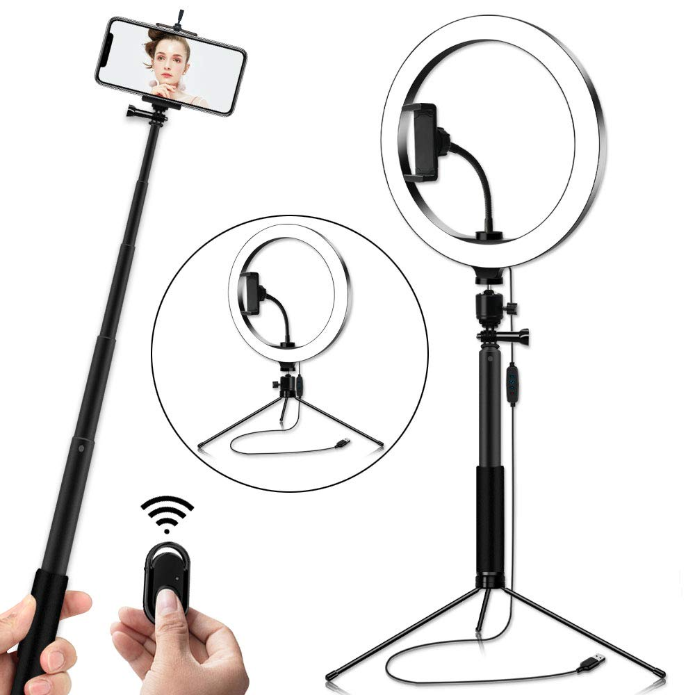 Ring Light,10-Inch LED Ring Light Mirror for YouTube Video Shooting, Selfie, Makeup, Photography, Live Streaming by LightsEtc