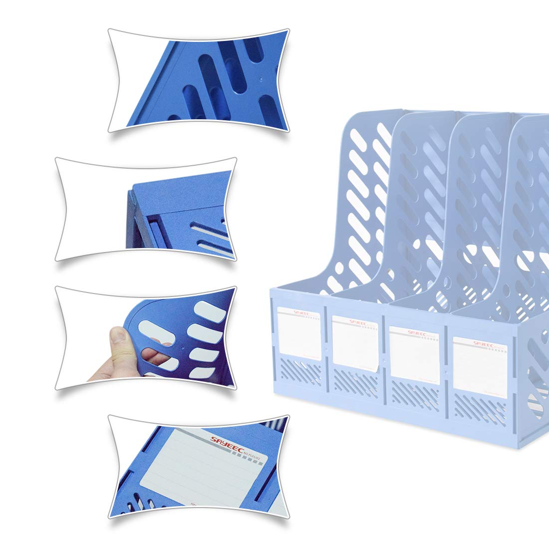 Marte Vanci 4 Sections Sturdy Plastic Magazine Holder Frames File Dividers Cabinet Rack Paper Document Office School Desk Organiser with A4 File Bag Bonus Blue