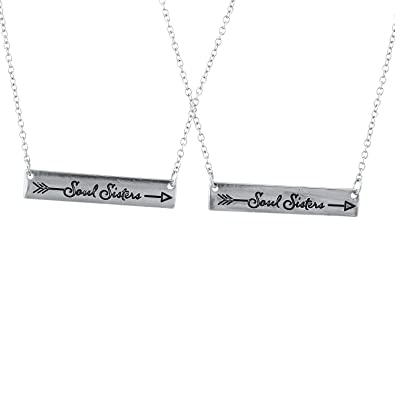 Lux Accessories Gold Tone Soul Sisters Etched Arrow Bar Pendant Necklace Set 2PC ulmx7AE7ju