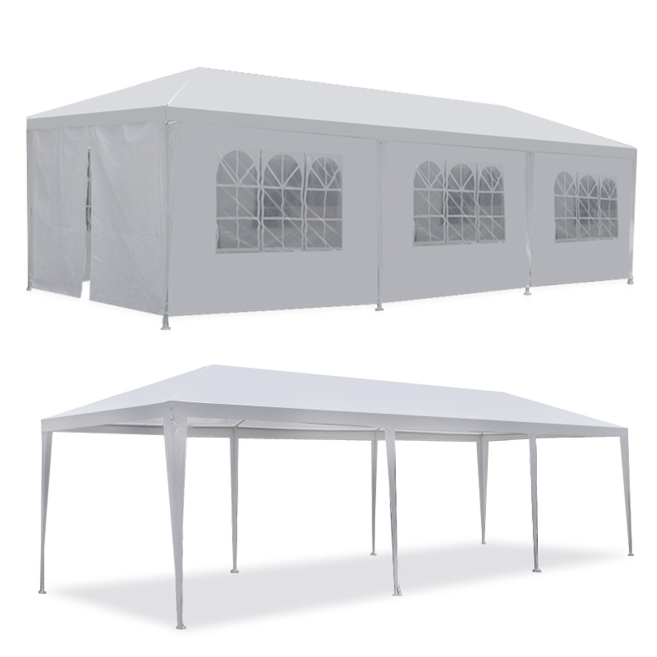 F2C 10'x30' Outdoor Gazebo White Canopy with sidewalls Party Wedding Tent Cater Events Pavilion Beach BBQ(10'X30') by F2C