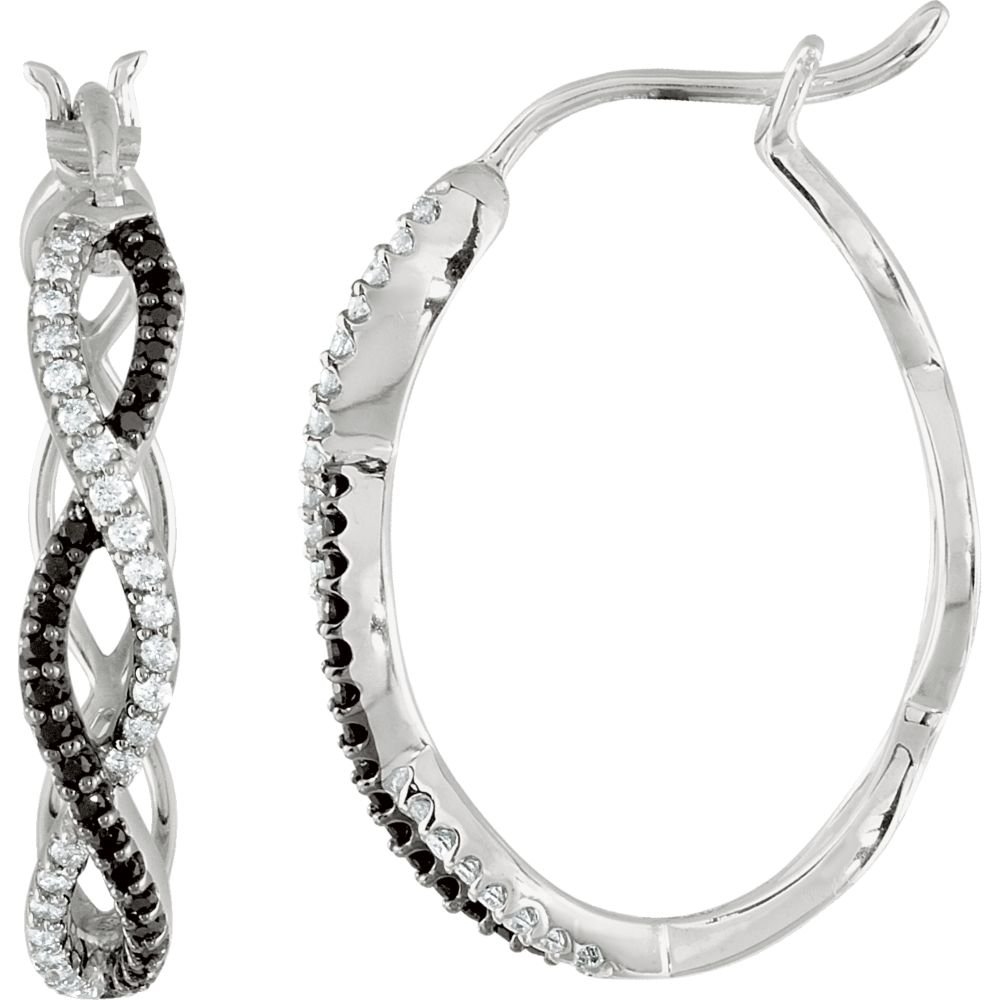Black Spinel /& Diamond Hoop Earrings