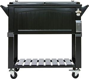 Permasteel 80 Quart Portable Rolling Patio Party Cooler in Antique Black