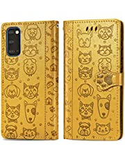 Miagon PU Leather Wallet Case for Samsung Galaxy S20,Cat and Dog Animal Design Embossing Flip Stand Function Cover with Card Slots Magnetic Buckle and Lanyard,Yellow