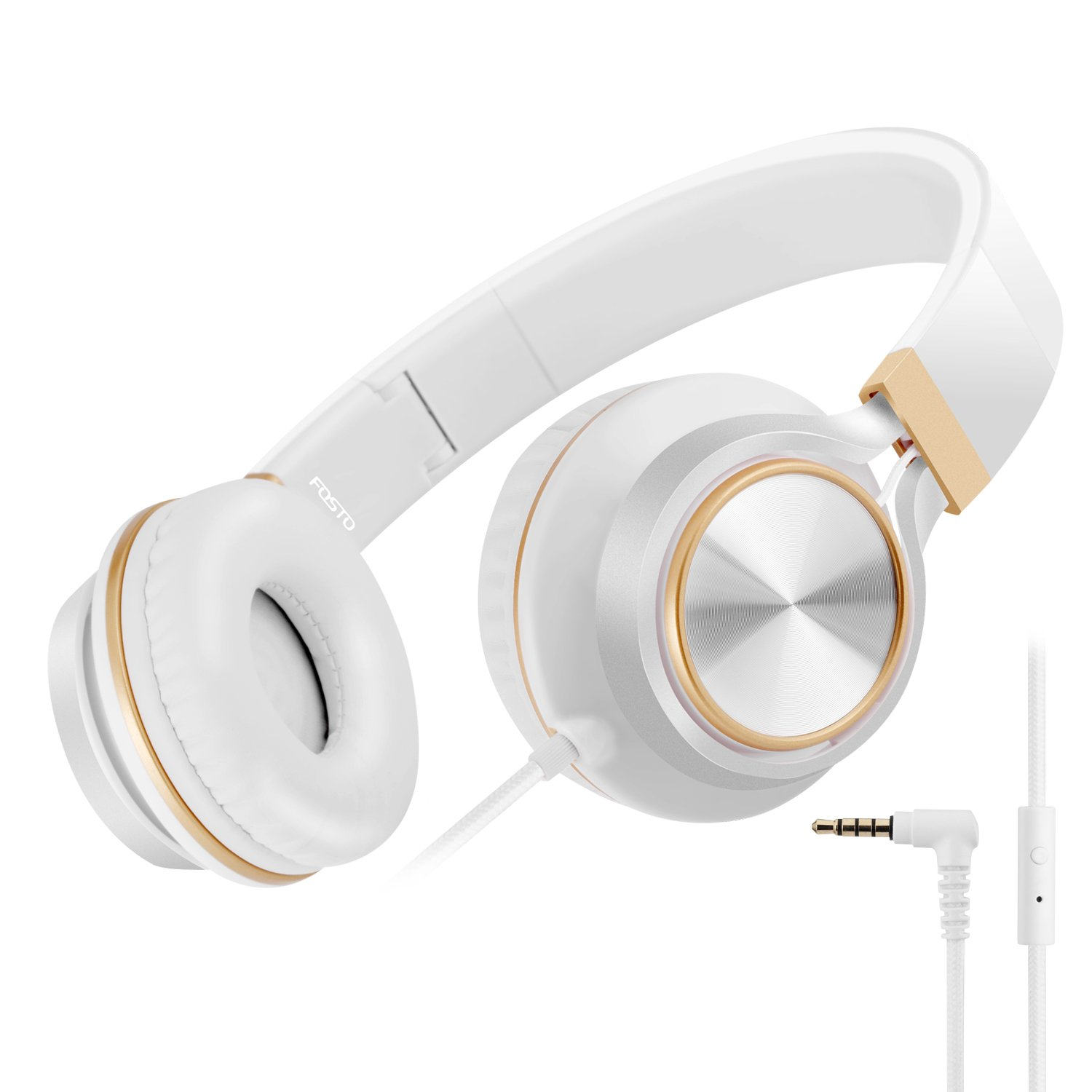 Headphones, FOSTO FT58 Stereo Folding Headset Strong Low Bass Headphones with Microphone for iPhone, All Android Smartphones, PC, Laptop, Mp3/mp4, Tablet Earphones (White/Gold)