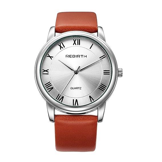 reloj de las mujeres agradables de moda con correa de cuero de color marrón rojizo números romanos esfera del reloj de cuarzo para los hombres grandes: ...