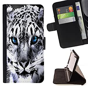 For sony Xperia M4 Aqua - Blue Eye Snow Panther Jaguar /Leather Foilo Wallet Cover Case with Magnetic Closure/ - Super Marley Shop -