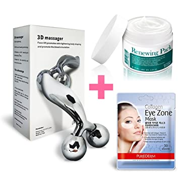 reface platinum electronic roller 3d massager face body silver + eye zone mask (30sheets) 2in1 Multifunctional Ultrasonic Ultrasound SPA Nano Spray Skin Moisture Facial Beauty Device