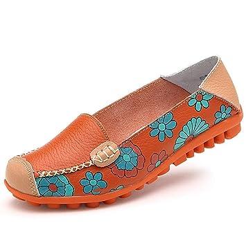 ZHRUI Zapatos para Mujer Ballet de Vaca Estampado de Flores de Verano para Mujer Zapatos de