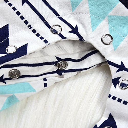 Newborn Baby Boy Girls Hooded Pocket Long Sleeve Romper Geometric Bodysuit Warm Outfit (0-3Months, Geometric design)