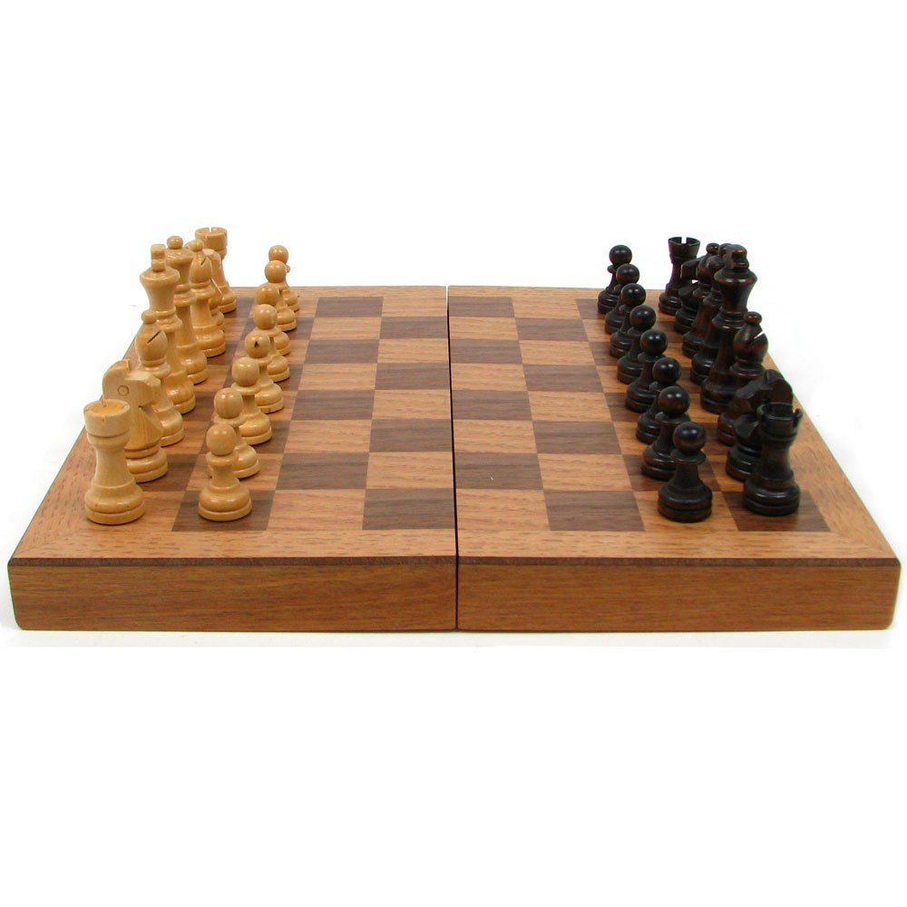 Amazon.com: Wooden Book Style Chess Board With Staunton Chessmen, Brown:  Toys U0026 Games