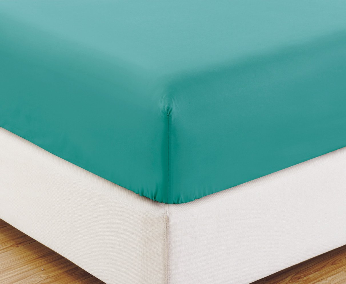 FULL size, TURQUOISE BLUE Solid Fitted Bed Sheet - Super Silky Soft - SALE - High Thread Count Brushed Microfiber - 1500 Series-Wrinkle, Fade, Stain Resistant, Deep Pockets, 100%