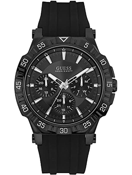 Guess Mens U0966G2 Black Silicone Quartz Fashion Watch
